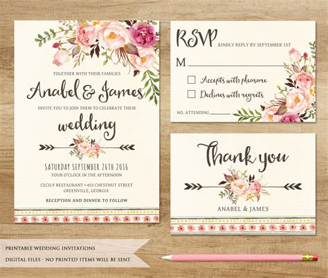wedding invites floral wedding invitation printable wedding invitation