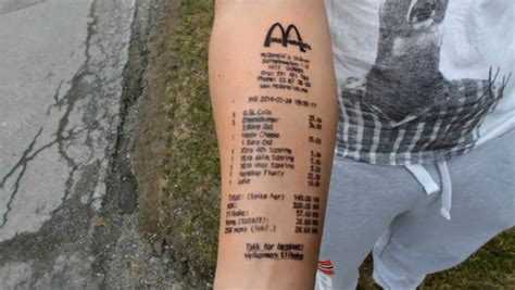 mcdonalds receipt tattoo gets receipt painted on to