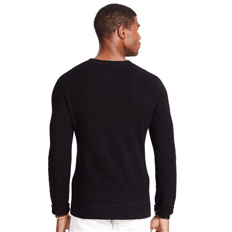 Hoodie Jumper Polos Black Jmp3 polo ralph waffle knit sweater in black for lyst