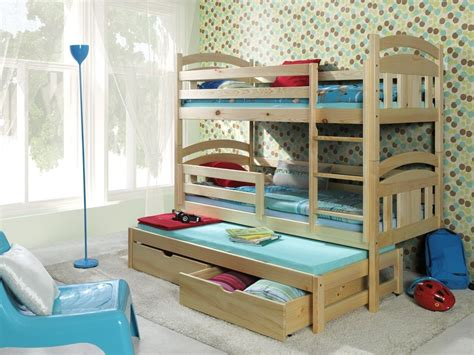 3 High Bunk Beds Bunk Beds Wooden Children S Mattresses Storage White Pine Solid 3 Sleeper Ebay