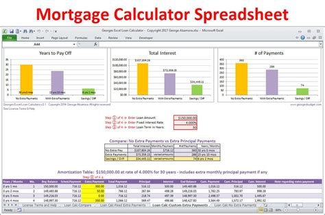 excel mortgage calculator spreadsheet for home loans buy