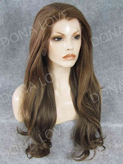 puffy wast length hair brown color waist length wavy synthetic lace wig sny052