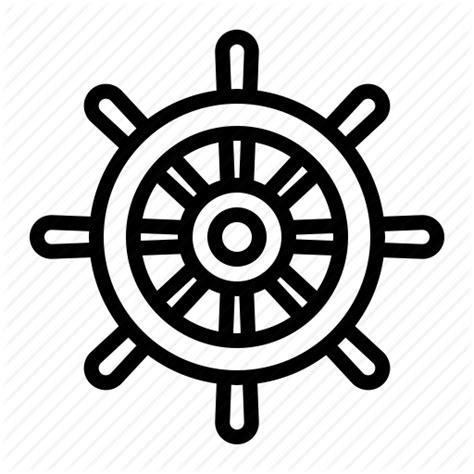 boat wheel outline pirate ship wheel vector
