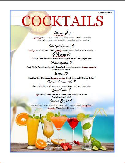 7 cocktail menu template procedure template sle