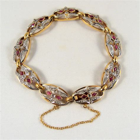Remarkable Art Nouveau French platinum and 18K solid gold