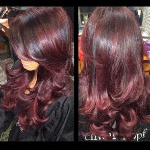 umbra hairstyle dark long hair style with yiolet red umbra high light