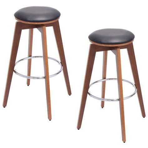 bistro counter stools goplus set of 2 bentwood swivel bar stools pu leather