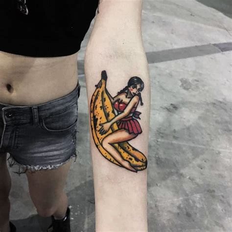 banana tattoo banana ride on arm best ideas gallery