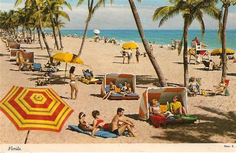 retro beach vintage beach scene florida fl old postcard by vintagepackrat