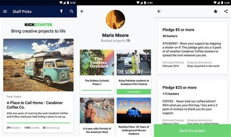app design kickstarter kickstarter brengt eindelijk haar android app uit