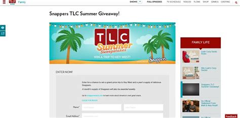 Tlc Sweepstakes - tlc com snappers tlc summer sweepstakes