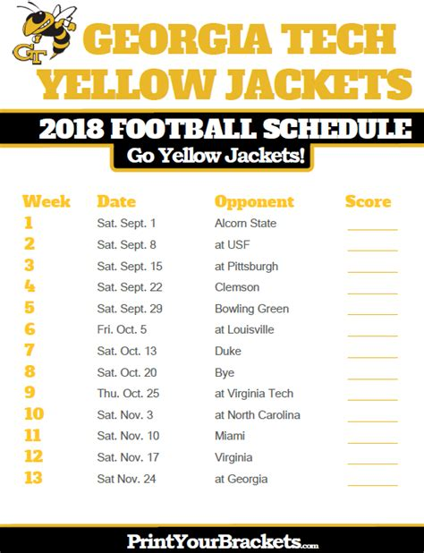 Ga Tech Calendar Tech Yellow Jackets 2018 Football Schedule Printable