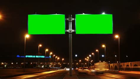 Cinemarama by Time Lapse Billboard With A Green Screen On The Busy Roadway Stock Footage Video 32881117