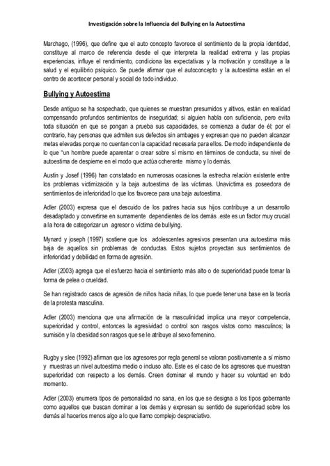 thesis de bullying investigacion bullyin autoestima1