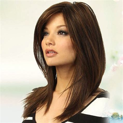 hairstyles with partial bangs women dark brown long straight partial bangs full wig heat