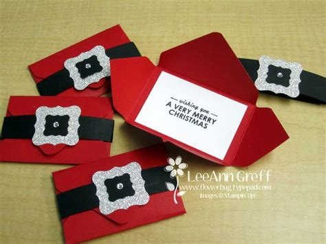 Santa Gift Card Holder - santa s belt gift card holders with envelope punch board it starts with a 5 quot square