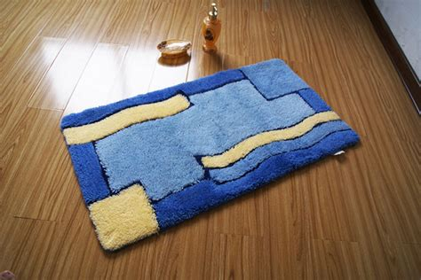 Intricate Yellow Blue Grid Design Non Slip Bath Mat Designer Bathroom Rugs And Mats