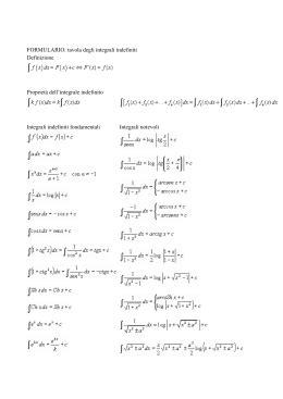 integrali tavola integrali indefiniti liceo scientifico mancini