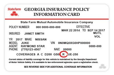 Rental Car Services Reimbursement State Farm 174 State Farm Insurance Card Template