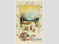 Snowy Country Scene Vintage Christmas Card - Old Design ... Happy Valentines Day Clip Art Children