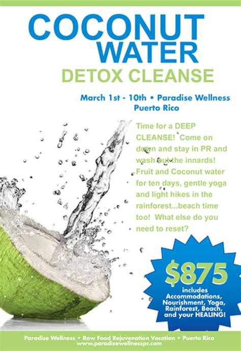 Juice Detox Retreat California by Coconut Water Detox Cleanse Event Retreat Guru