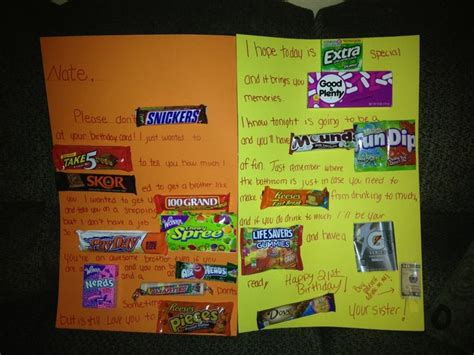 Gift Card Ideas For Brother - my brother s 21st birthday card candy cards pinterest