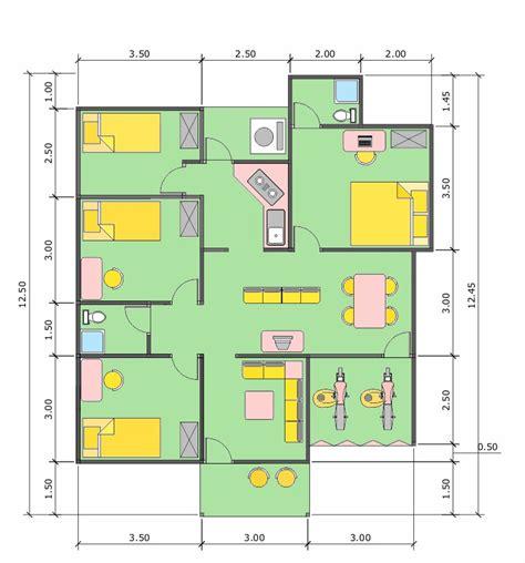 contoh layout kantor sederhana sketsa denah rumah ukuran 6x9 meter 3 kamar