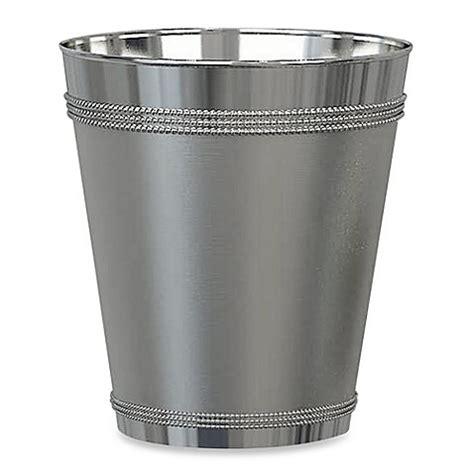 silver bathroom trash can beaded metal wastebasket in stainless steel bed bath