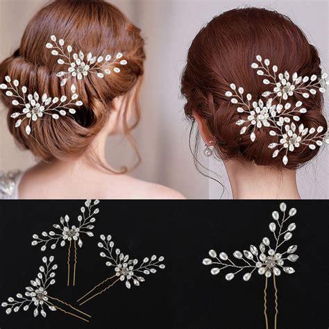 Bridal Rhinestone Flower Hair Pin 3x wedding bridal hair pins flower pearl