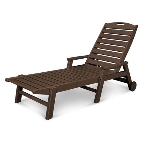 Plastic Chaise Lounge Chair by Shop Polywood Nautical Mahogany Plastic Patio Chaise