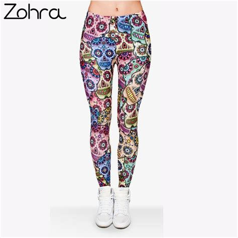 printed leggings outfits summer www imgkid com the zohra brand legginsy mexican skull 3d printed women spring