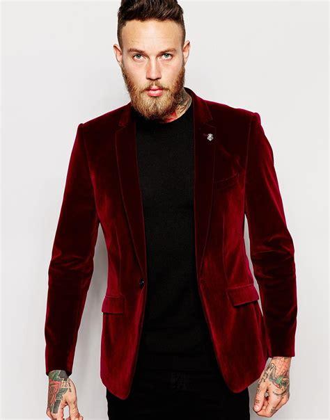 Kemeja Topman Lp 134 Maroon asos blazer in velvet in purple for lyst