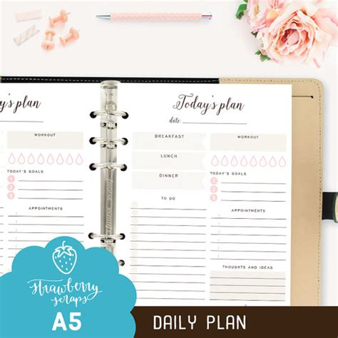 printable a5 daily planner a5 daily planner printable today s plan daily