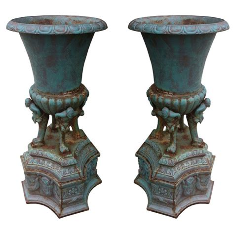 Cast Iron Urn Planters For Sale by Large Pair Cast Iron Decorative Antique Urns For Sale At