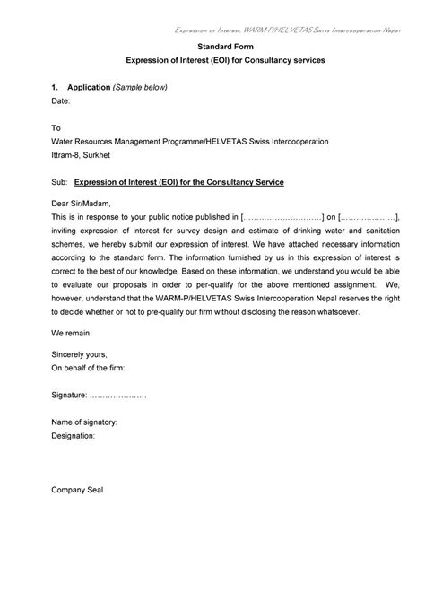 expression of interest cover letter sle expression of interest letter for application