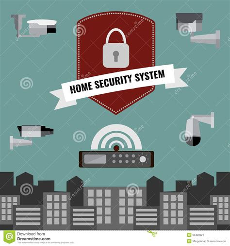 home security cctv system design stock vector image