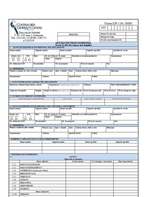 dgcye formulario de declaracin jurada de cargos y actividades declaracion jurada patrimonial