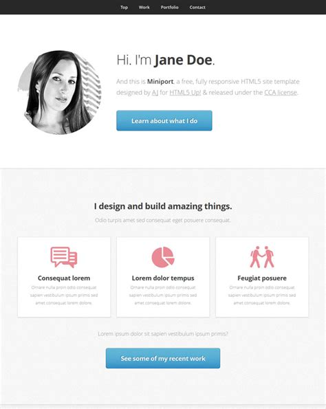 free html5 responsive single page template miniport