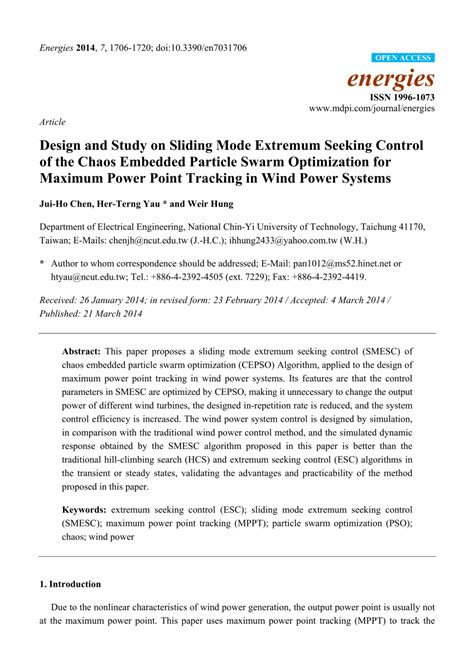 (PDF) Design and Study on Sliding Mode Extremum Seeking
