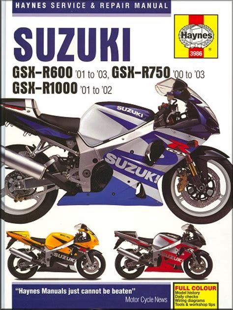 Suzuki Gsxr600 Gsxr750 Gsxr1000 Repair Manual 2000 2003