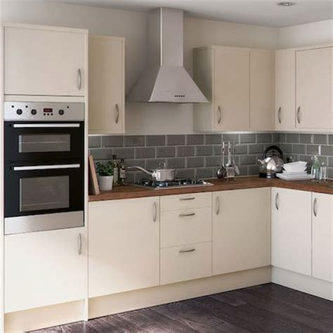 cream and black kitchen ideas cream kitchen with grey tiles and wooden worktop google