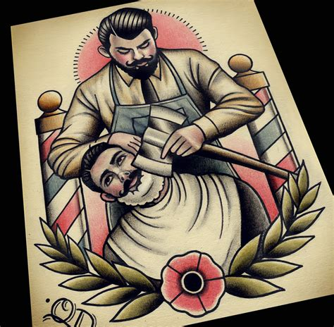 haircut tattoo designs axe shave barber barbering flash print