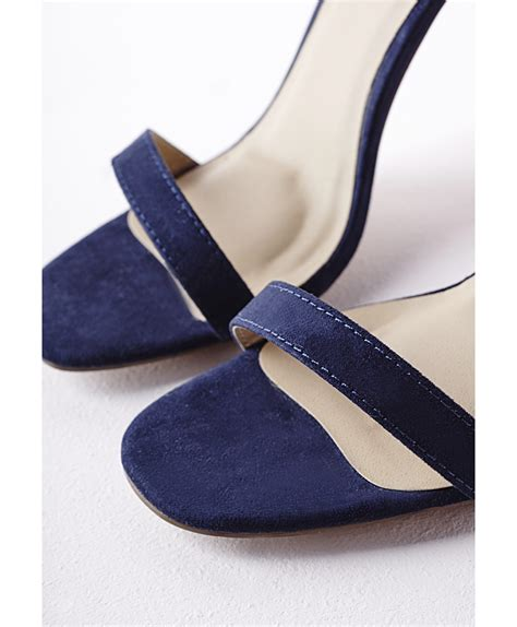 suede heeled sandals missguided barely there heeled sandals navy faux suede in