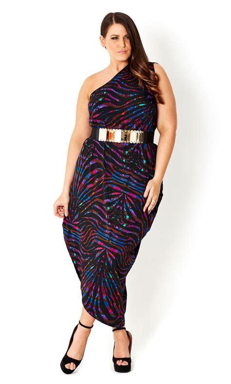 city chic printed one shoulder dress s plus size fashion plus size fashion looks