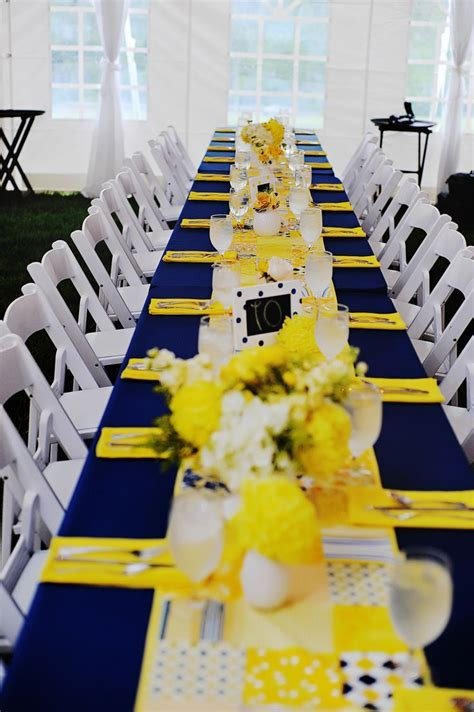 Navy and Yellow Reception Decor   Elizabeth's Wedding