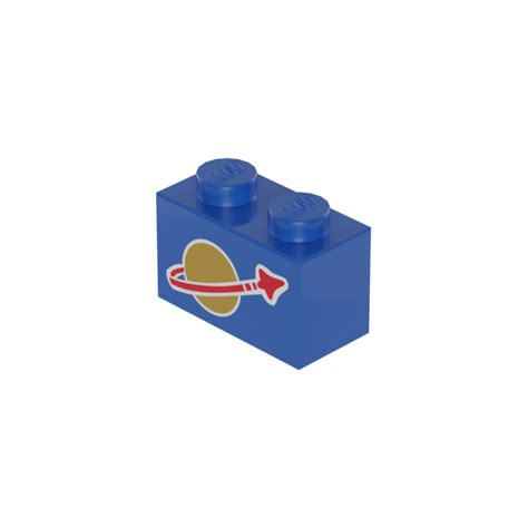 Lego Brick Blue 1 X 2 3004 lego brick 1 x 2 with classic space logo 3004 brick owl lego marketplace