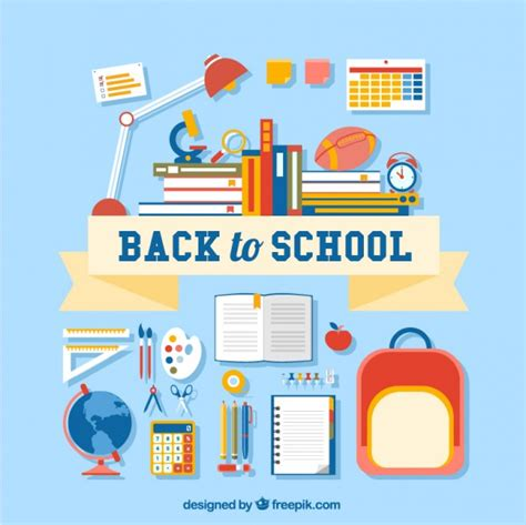back to school lettering with many supplies vector free download