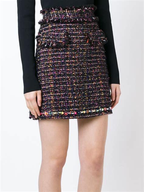 Ruffled Tweed A Line Miniskirt lyst msgm tweed skirt in black