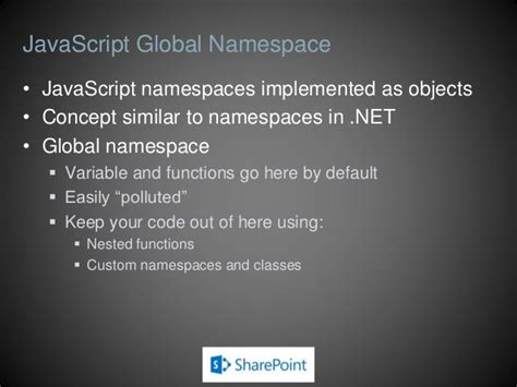 javascript namespace pattern tutorial javascript and jquery for sharepoint developers