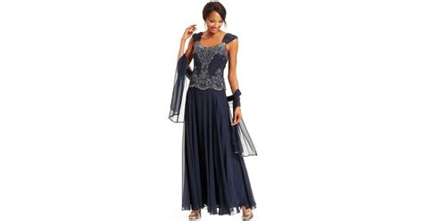 j kara beaded bodice gown j kara beaded bodice chiffon gown and scarf in blue navy